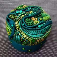 Organic Leaves and Pods Blue Green Jar by *MandarinMoon on deviantART