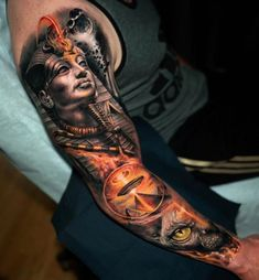 Egyptian alien sleeve by Yomicoart, an artist based in New York – Odd Stuff Magazine Chicano Tattoos Sleeve, Best Sleeve Tattoos, Sleeve Tattoos For Women, Tattoo Sleeve Designs, Tattoos For Guys, Tattoo Tribal, Leg Tattoo Men, Leg Tattoos, Body Art Tattoos