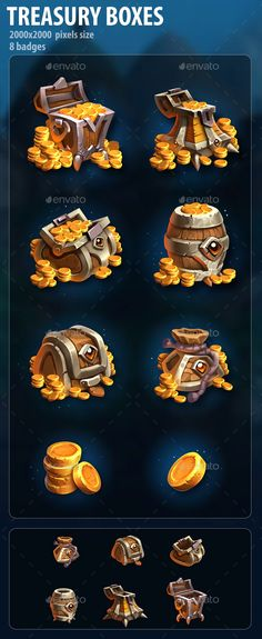 Buy Treasury Boxes by a-ravlik on GraphicRiver. A set of 8 treasury icons. Transparent PNG and PSD. Game Card Design, Prop Design, Game Gui, Game Icon, Stone Game, Pixel Size, Game Props, Game Concept, Game Assets