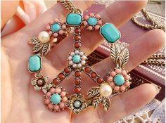 Vintage Peace Sign Pendant Long Chain Necklace
