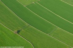 Aerial view of green fields at Austwick in the Yorkshire Dales