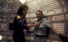 Sigourney Weaver and Ian Holm on the set of Alien 1979