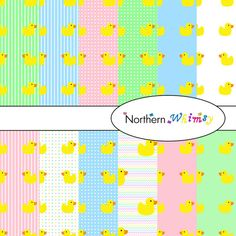 Digital Scrapbooking Paper Background Set – Rubber Duckie pattern on pastel stripes , polka dots , and plain backgrounds, in mint green, rose pink, and powder blue - great for baby shower invitations and baby related scrapbooking.  By Northern Whimsy on Etsy.