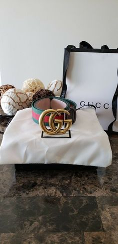 5b40210e0 New Gold buckle Gucci Belt - clássic Green/Red sport strap size 34-38