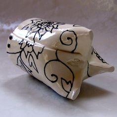 ceramic utensil holder   black  white RED kitchen by maryjudy, $58.00
