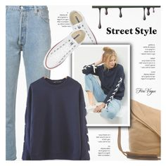 """""""Street Style - Firevogue.com"""" by novalikarida ❤ liked on Polyvore featuring Converse and RE/DONE"""