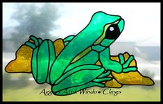 Frog on Stone - hand painted faux leadlight / stained glass look window cling