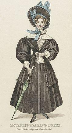 Mourning walking dress, 1830 United Kingdom, Ladies' Pocket Magazine