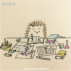 1260 ねぇ、夏休みの宿題終わった?? Have you already finished you. - New Ideas Hedgehog Drawing, Hedgehog Pet, Cute Hedgehog, Hedgehog Illustration, Cute Illustration, Creation Art, Kawaii Doodles, Animal Drawings, Easy Drawings