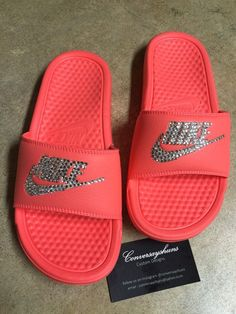 Crystal Nike Sandals by Conversayshuns on Etsy