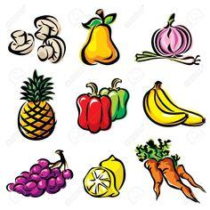 dibujos de frutas y verduras a color buscar con google