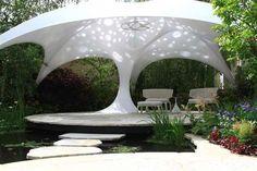 futuristic garden Deck Canopy, Kids Canopy, Canopy Curtains, Backyard Canopy, Canopy Bedroom, Garden Canopy, Fabric Canopy, Canopy Outdoor, Gardens