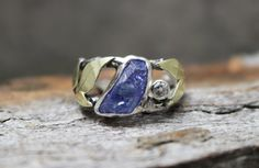 Tanzanite Crystal, Aquamarine, 14k Green Gold & Sterling Silver Twig Ring by GlobalPathways on Etsy https://www.etsy.com/listing/224068779/tanzanite-crystal-aquamarine-14k-green