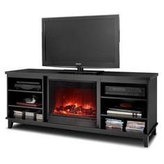 Real Flame Eli Electric Fireplace TV Stand - Black