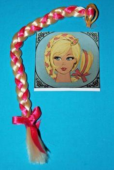 Vintage Barbie MOD Reproduction HAIR FAIR BLONDE Pink Ribbon Long BRAIDED Switch #Mattel