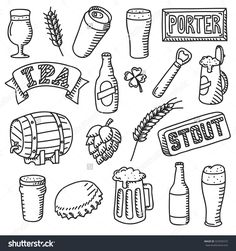 Set of beer doodles. Hand drawn craft beer illustration - Buy this stock vector and explore similar vectors at Adobe Stock Funny Illustration, Pencil Illustration, Bullet Journal Ideas Pages, Bullet Journal Inspiration, Lucky Beer, Mini Doodle, Bujo Doodles, Beer Art, Book Projects