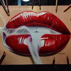 Realistic smoking red lips drawing timelapse Realistic smoking red lips drawing timelapse This image has get. Cool Art Drawings, Pencil Art Drawings, Realistic Drawings, Art Sketches, Drawing Art, Figure Drawing, Lip Art, Smoke Drawing, Drawing Lips