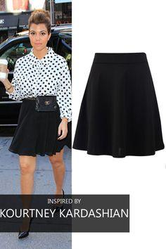Kourtney Kardashian, Skater Skirt, Your Style, High Waisted Skirt, Chic, Celebrities, Skirts, Outfits, Inspiration