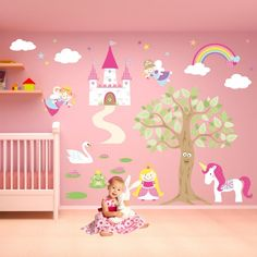Ideas Cute Interior Drawing In The Wall For Baby Room With Cream Modern  Floor Can Add The Elegant Touch Inside House It Has Pink Bed Frame That Make It Seems Nice Drawing In The Wall For Baby Room