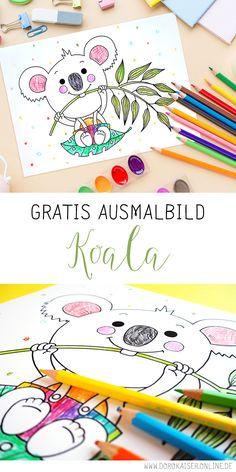 Kostenloses Ausmalbild mit Koala für Kinder - Vorlage mit Tiermotiv gratis herunterladen, ausdrucken und dann Spaß haben beim Ausmalen