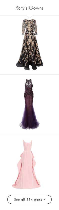 """""""Rory's Gowns"""" by skh-siera18 ❤ liked on Polyvore featuring dresses, gowns, 3 4 sleeve a line dress, a line ball gown, 3 4 sleeve gown, a line evening dresses, 3/4 sleeve dress, long dresses, marchesa and purple lace dresses"""