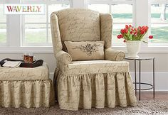 Sure Fit Slipcovers Pen Pal by Waverly™ Wing Chair  Slipcover - Wing Chairs instead of re-upholstering