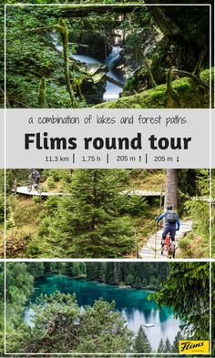 Bike tour through Flims. Looking for forest paths and hidden lakes? Get the best of both at this round tour. Forest Path, Seen, Mountain Biking, Lakes, Trail, Explore, Adventure, Mountains, Flims
