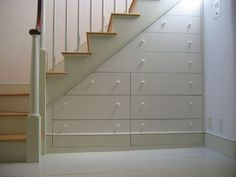 Under Staircase Storage drawers Staircase Storage, Basement Storage, Stair Storage, Basement Remodeling, Storage Drawers, Storage Spaces, Storage Ideas, Basement Stairs, Storage Solutions