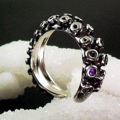 Amethyst Tentacle Ring. via Etsy.