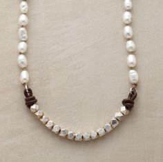 """Leather & Pearl Necklace  Naomi Herndon knots brown silk cord to set cultured rice pearls apart from angular sterling silver beads. Her signature paillettes mark the S-hook clasp. A Sundance exclusive handmade in USA. Approx. 16""""L. find glass pearls at http://www.ecrafty.com/c-595-glass-pearls.aspx"""