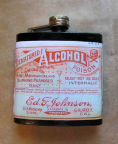 Alcohol Poison Flask - Image from actual vintage pharmacy label