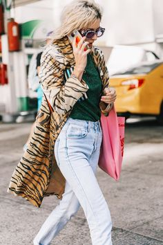 Mix prints and metallic for an unexpected combo.