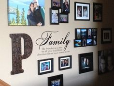 Family picture wall on stairway