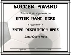Soccer Certificate Templates to Download