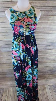 How stunning is this sweet summertime navy floral racerback rayon spandex maxi dress with pockets? Boutique Clothing, Fashion Boutique, Navy Floral Maxi Dress, Girly Girl, Summertime, Sweet, Shopping, Clothes, Dresses