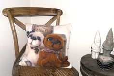 Roxane and Michel, ours d'artiste, french OOAK bears. http://www.adopte-un-ours.com/blog/objets-decoration-ours-tombe-etoiles/ Throw Pillow by Anne-Marie Verron, L'ours tombé des étoiles - $20.00 #ooakbear #oursdecollection #teddybear