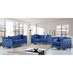 Shop for Meridian Reese Light Blue Velvet 3-piece Furniture Set. Get free delivery at Overstock.com - Your Online Furniture Shop! Get 5% in rewards with Club O!