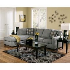 gray couch I love the huge sectional instead of having three couches I also love the grey and black