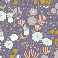 """Rich Meadow in Navy"" by Elizabeth Olwen from the collection ""Morning Song"". Available at www.pinkcastlefabrics.com."