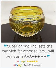 """It's the small elegant touches in your home that can delight! Faberge Nadya Votive Candleholder in yellow and clear crystal. Signed piece,  Cut Dot Band pattern, 3"""", discontinued style."""