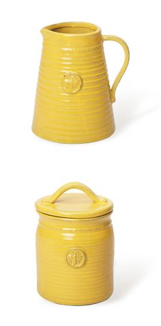 Add a bright, high note to your Tuscan farmhouse-inspired kitchen. The honeybee pitcher pays homage to Tuscany's vibrant ceramic industry. Use it to pour your homemade lemonade, or to hold freshly pick...  Find the Honeybee Pitcher, as seen in the Mugs Collection at http://dotandbo.com/category/kitchen-and-dining/glassware-and-bar/mugs?utm_source=pinterest&utm_medium=organic&db_sku=FSD0007