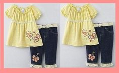 $12.99  WonderKids Infant and Toddler Girl's Spring Butterflies Tunic and Jeans Set -3T