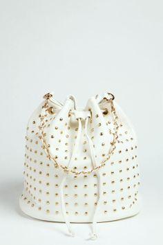 White Studded Duffle Handbag ♥