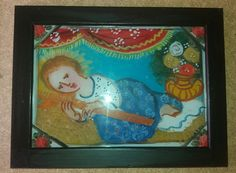 Pittura su Vetro - Gesù Bambino disteso cm 18x13 (Repro) Olio su Vetro Per maggiori info contattatemi! pincisanti@hotmail.com
