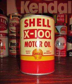 SHELL X-100 1 QT. Metal Motor Oil Can, circa 1950's