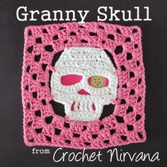 Here it is! The (free!) crochet skull granny square pattern. Now you can turn the motif into an 8 inch square! Mix and match your favorite skulls with traditional granny squares and create a ghoulishly grand afghan! Happy Halloween!!