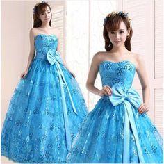 ウェディングドレス ブルー ロングパーティードレス二次会カラードレス 花嫁演出舞台撮影着 CC24