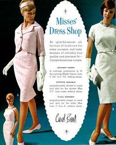 dress fashions from Carol Brent. 1960s Fashion, Vintage Fashion, Vintage Photography, Fashion Photography, Montgomery Ward, Short Waist, Vintage Advertisements, Vintage Dresses, Peplum Dress