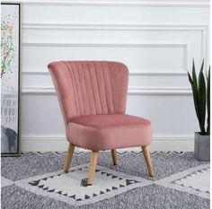 Scandinavian Retro Accent Chair Crush Velvet Wooden Legs Pink Single Chair, Crushed Velvet, Chair Design, Pink Velvet Chair, Modern Design, Wooden Leg, Scandinavian Furniture, Armchairs, Solid Oak