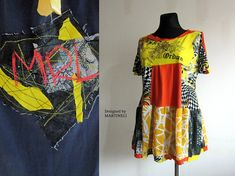 Pop Art Top Patchwork Top Plus Size Tunic Upcycled Clothing